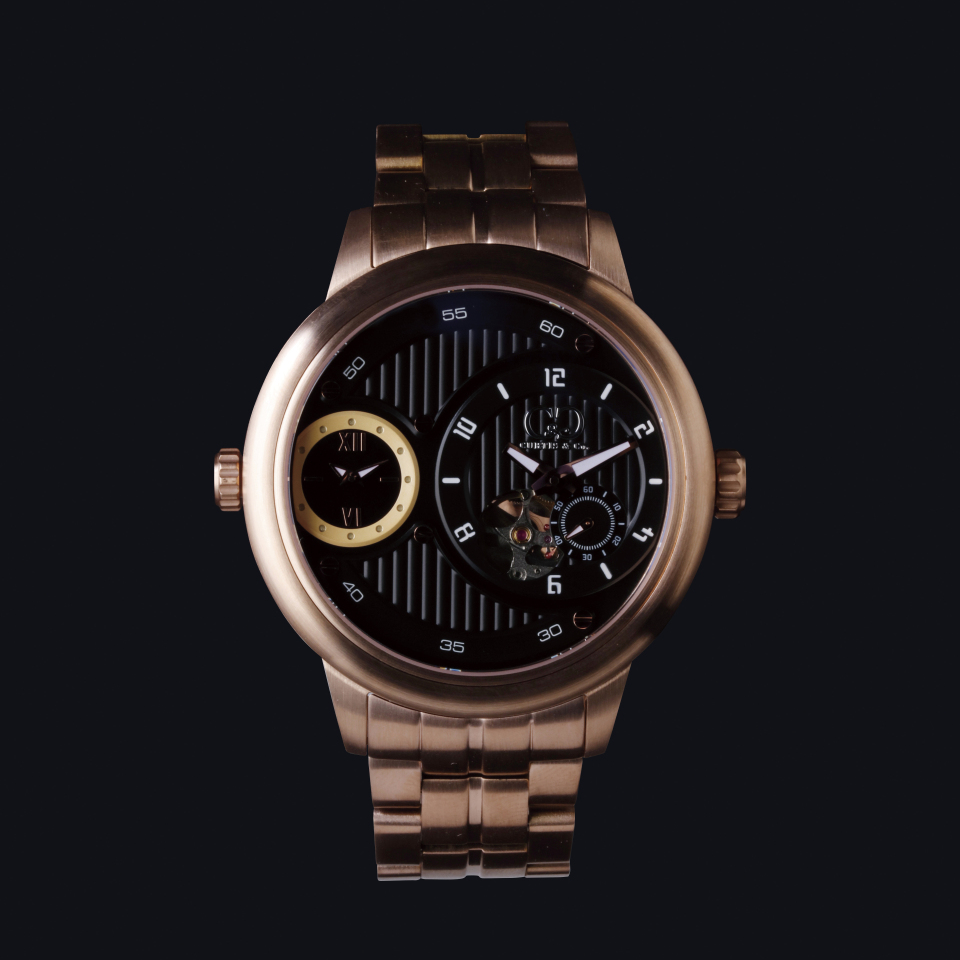 CURTIS & Co THE BIG TIME PASSPORT (52 mm) BLACK DIAL / ROSE GOLD SERIES